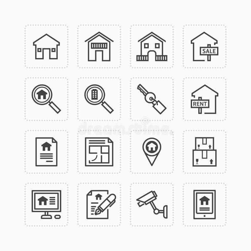 Plan symbolsuppsättning för vektor av begreppet för fastighetegenskapsöversikt royaltyfri illustrationer
