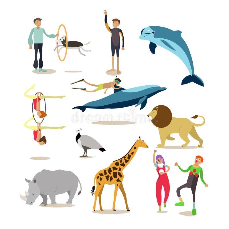 Plan symbolsuppsättning för vektor av delfinarium-, cirkus- och zootecken stock illustrationer