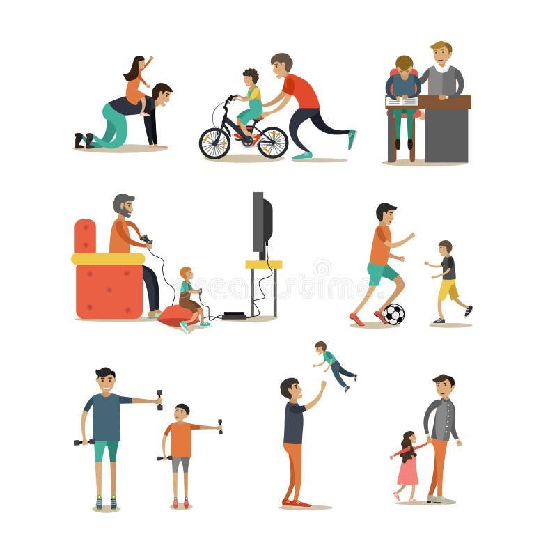 Plan symbolsuppsättning för vektor av fäder med barntecken royaltyfri illustrationer