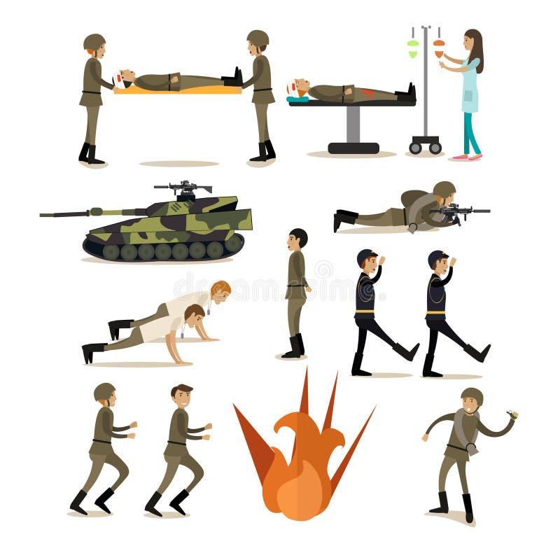 Plan symbolsuppsättning för vektor av militärt folk och utrustning stock illustrationer