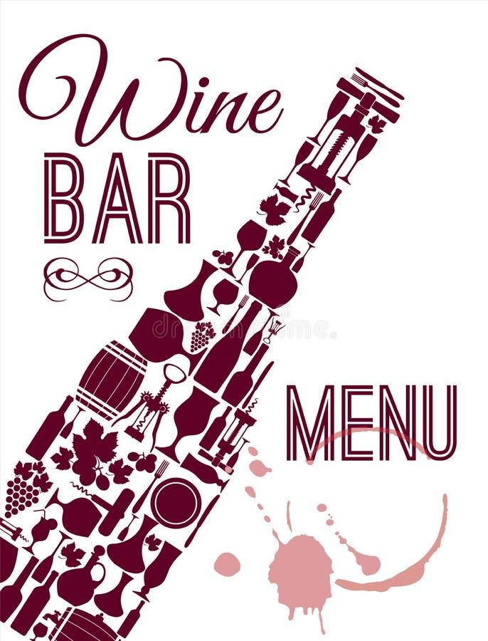 Plan symbolsuppsättning för vin royaltyfri illustrationer