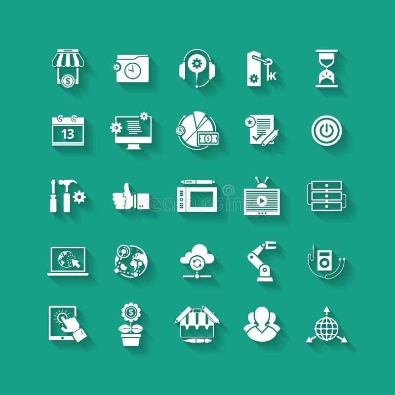 Plan symbolsuppsättning för vit Affärsobjekt, kontorshjälpmedel vektor illustrationer