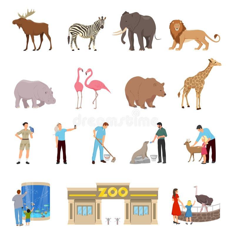 Plan symbolsuppsättning för zoo vektor illustrationer