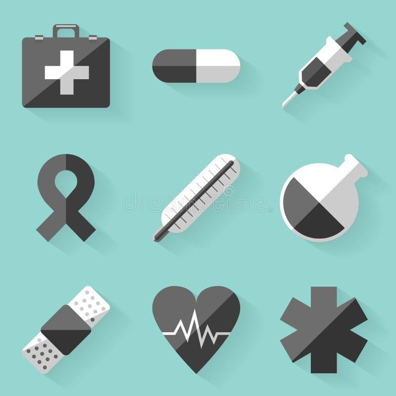 Plan symbolsuppsättning läkarundersökning Vit utformar vektor illustrationer