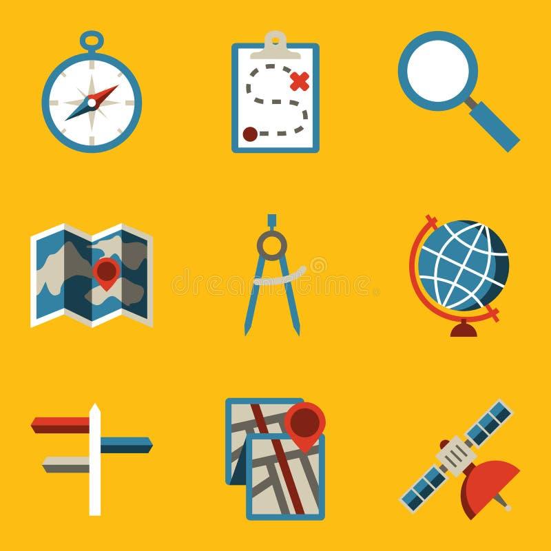 Plan symbolsuppsättning. Navigering stock illustrationer