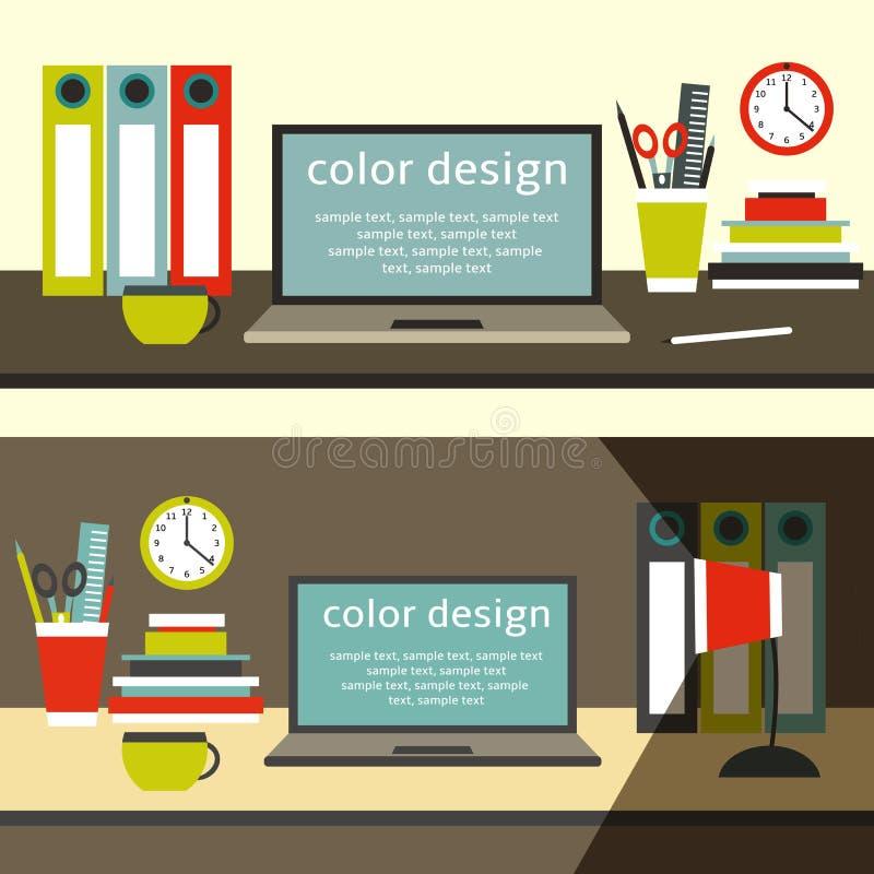 Plan tabell för stilarbetsutrymme med bärbara datorn stock illustrationer