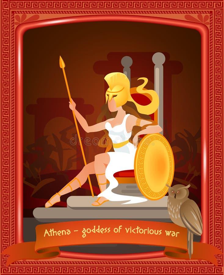 Plan tecknad film Athena Goddess av det segerrika kriget stock illustrationer
