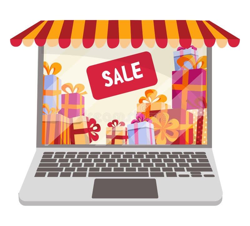Plan tecknad filmvektorllustration för online-shopping och försäljningar som isoleras på vit bakgrund Bärbar dator som dekoreras  stock illustrationer
