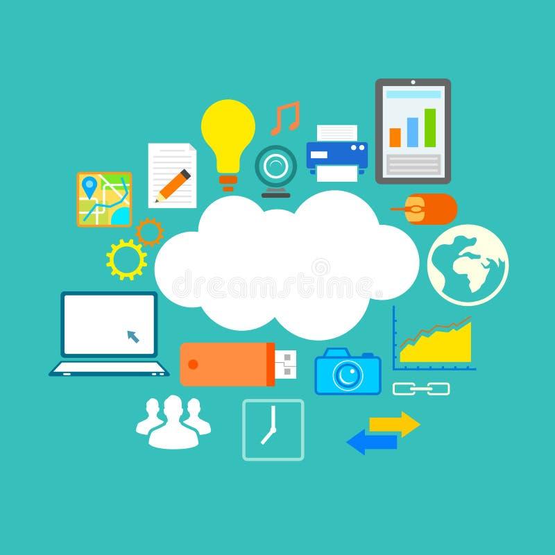 Plan teknologidesign av molnberäkning royaltyfri illustrationer