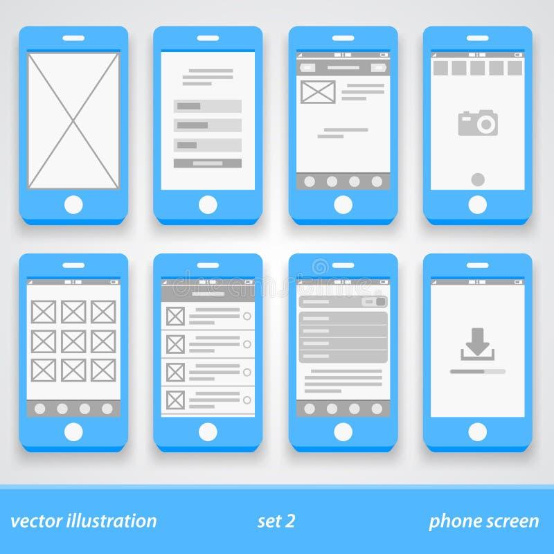 Plan telefonskärm 2 inställda prydnadar royaltyfri illustrationer