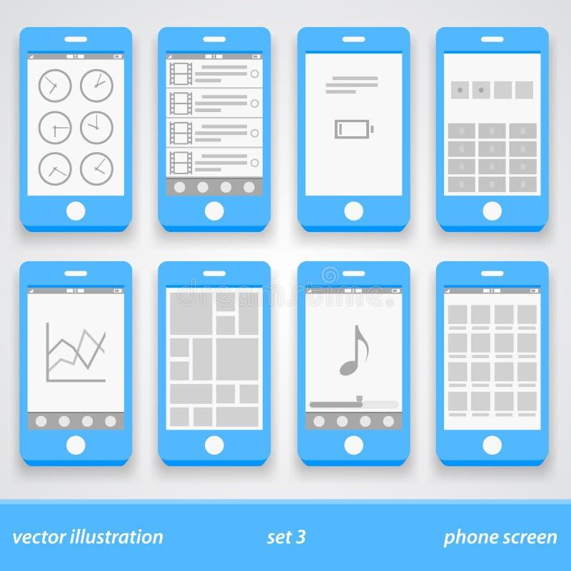 Plan telefonskärm Uppsättning 3 stock illustrationer