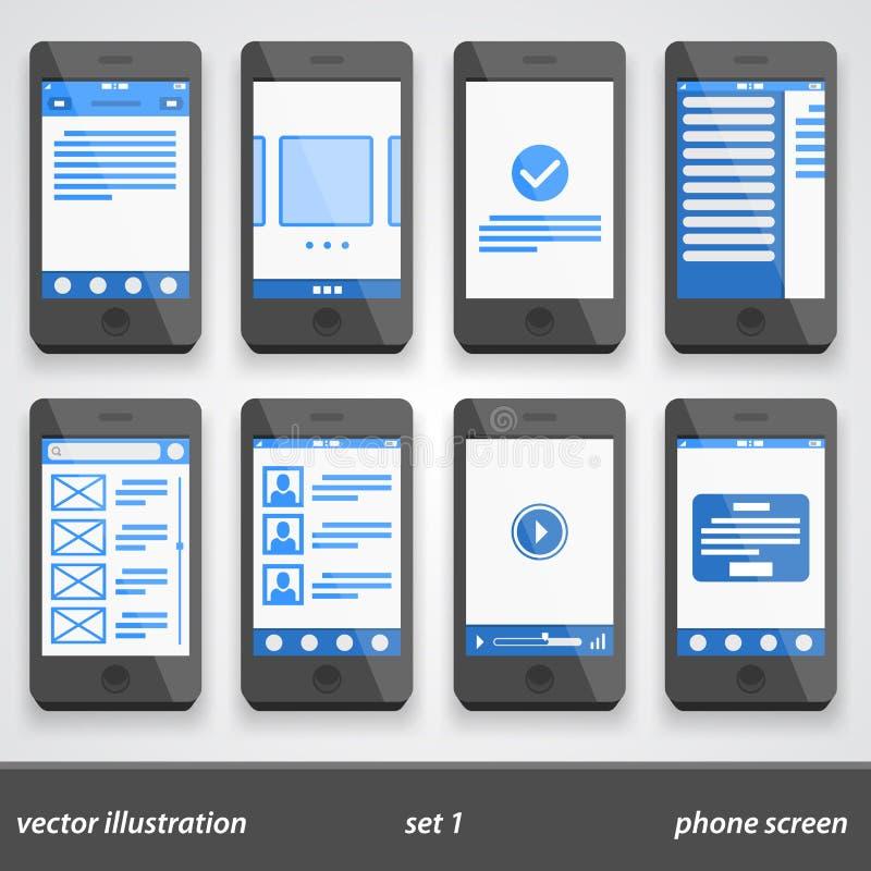 Plan telefonskärm Uppsättning 1 stock illustrationer