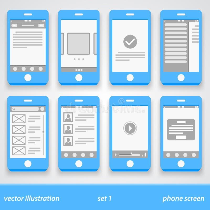 Plan telefonskärm Uppsättning 1 vektor illustrationer