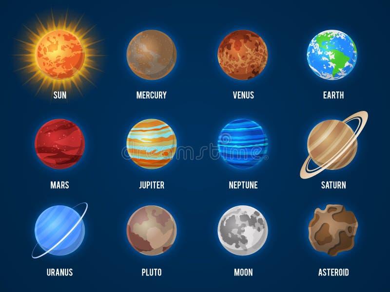 Plan?tes de bande dessin?e de syst?me solaire La lune Jupiter du soleil d'orbite de l'espace de galaxie de planète de cosmos trou illustration libre de droits