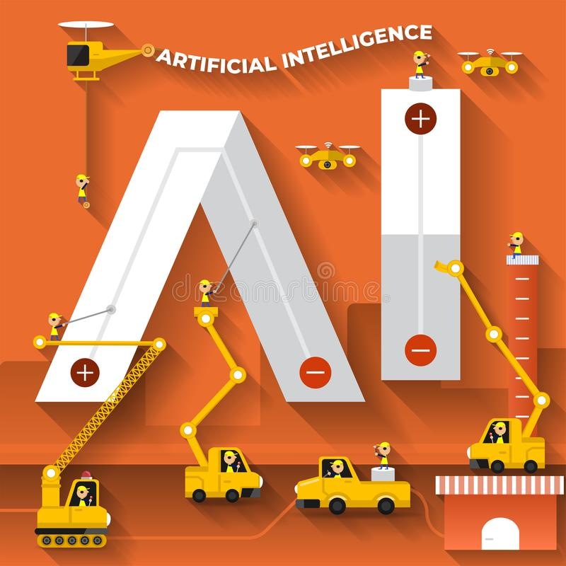 Plan text AI för byggnad för designbegrepp med konstruktionslaget Vektorn illustrerar royaltyfri illustrationer