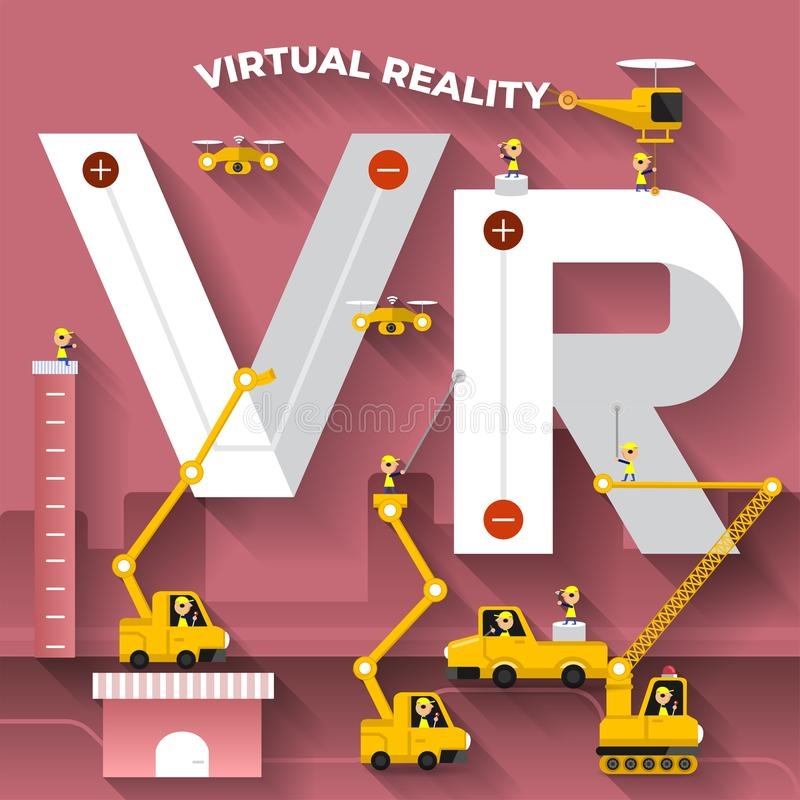 Plan text VR för byggnad för designbegrepp med konstruktionslaget Vektorn illustrerar royaltyfri illustrationer