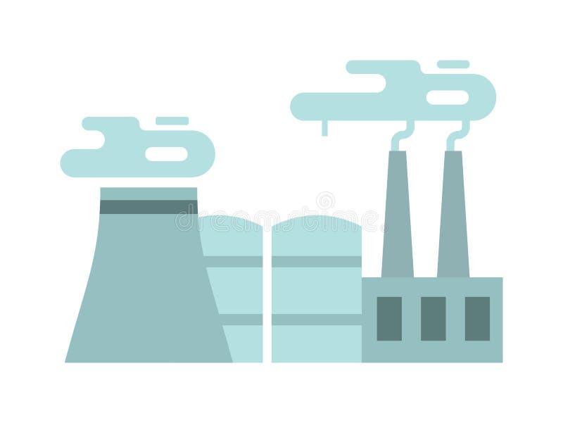 Plan thermoelectric illustration för kraftverklägenhetvektor stock illustrationer