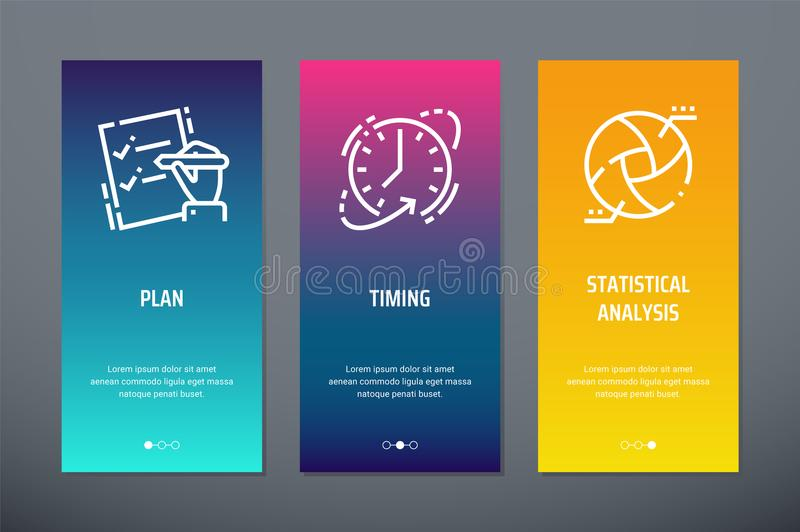 Plan, Timing, Statistical analysis Vertical Cards with strong metaphors. royalty free illustration