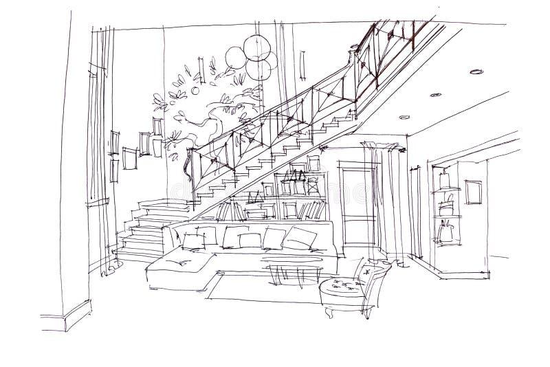 Plan tiré par la main d'intérieur et de meubles modernes de salon illustration stock