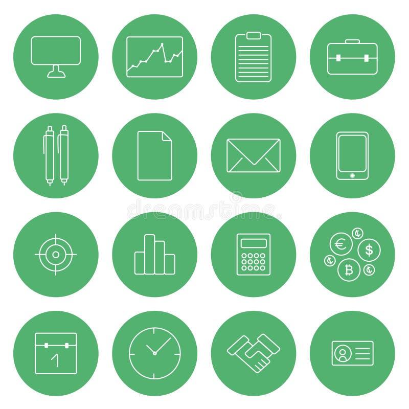 Plan tunn linje symboler för affär för uppsättning för vektor för modern design för symboler vektor illustrationer