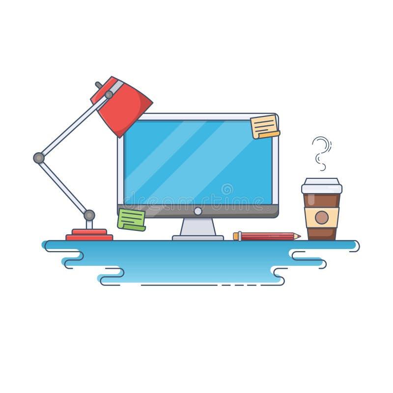 Plan tunn linje vektorillustration av idérik Workspace stock illustrationer
