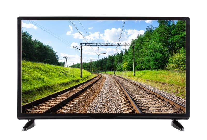 Plan TV för hög definition med järnvägen på skärmen royaltyfri bild