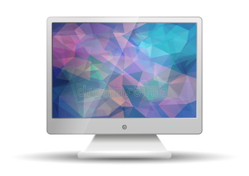 Plan tv med den Polygonal skärmen för modern färgrik triangel royaltyfri illustrationer