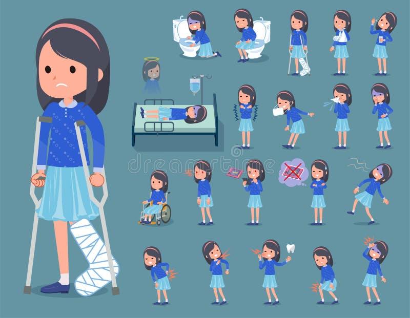 Plan typblått beklär huvudbindelgirl_sickness royaltyfri illustrationer