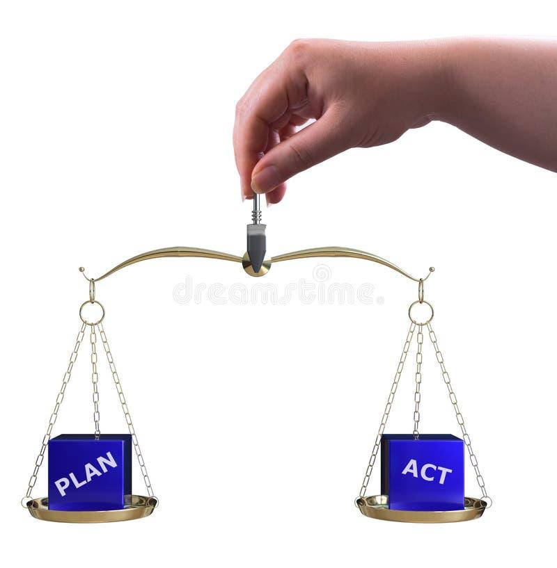 Plan- und Tatenbalance stock abbildung