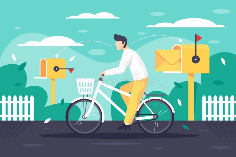 Plan ung man att leverera post på cykeln royaltyfri illustrationer