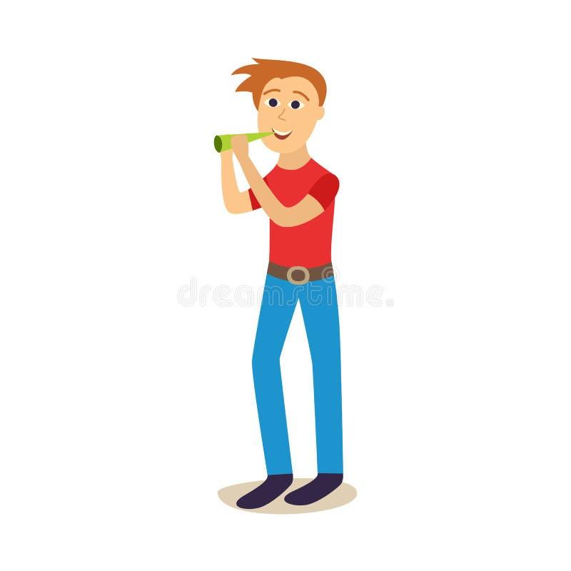 Plan ung man för vektor som dricker öl från flaskan vektor illustrationer