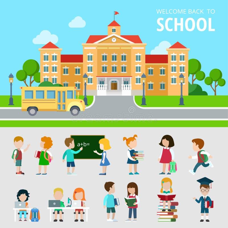 Plan uppsättning av bussen, skola, studenter, nerdwonk royaltyfri illustrationer