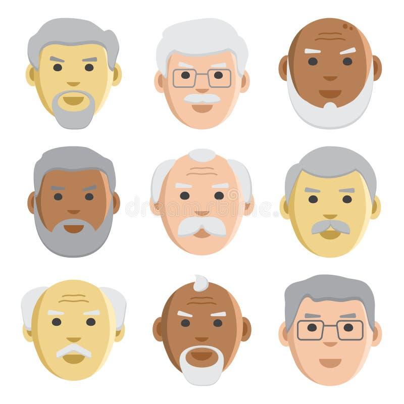 Plan uppsättning av framsidagamala män, avatar, vektor royaltyfri illustrationer