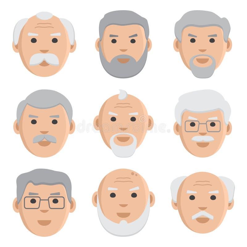 Plan uppsättning av framsidagamala män, avatar, vektor stock illustrationer