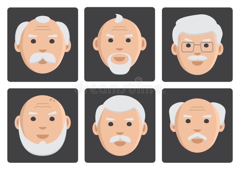 Plan uppsättning av framsidagamala män på grå bakgrund, avatar, vektor vektor illustrationer