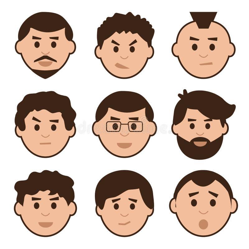 Plan uppsättning av män, avatar med olika sinnesrörelser, vektor royaltyfri illustrationer