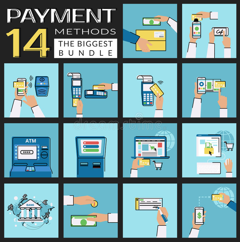 Plan uppsättning för begreppsvektorillustrationer av betalningmetoder liksom kreditkorten, nfc, mobil app, atm, terminal, website vektor illustrationer