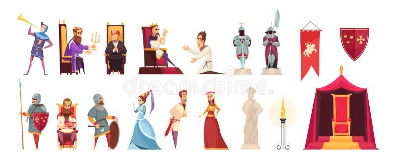 Plan uppsättning för slott stock illustrationer