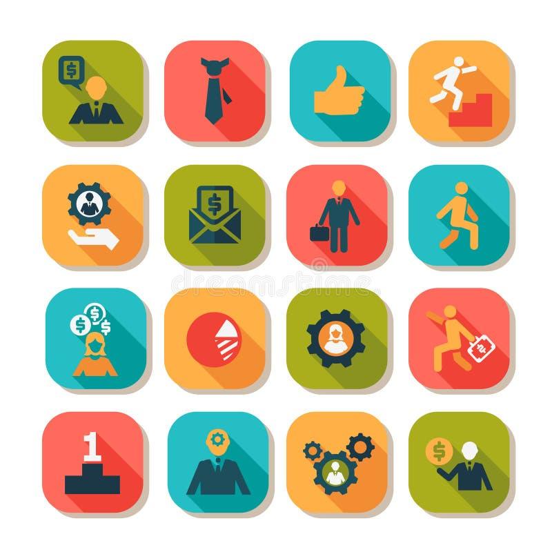 Plan uppsättning för symboler för affärsframgång royaltyfri illustrationer