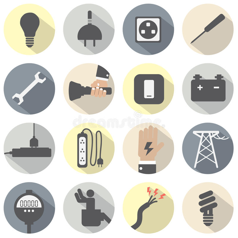 Plan uppsättning för symboler för designelektricitetsmakt vektor illustrationer
