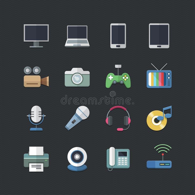 Plan uppsättning för symboler för elektroniska apparater för färgstil vektor illustrationer