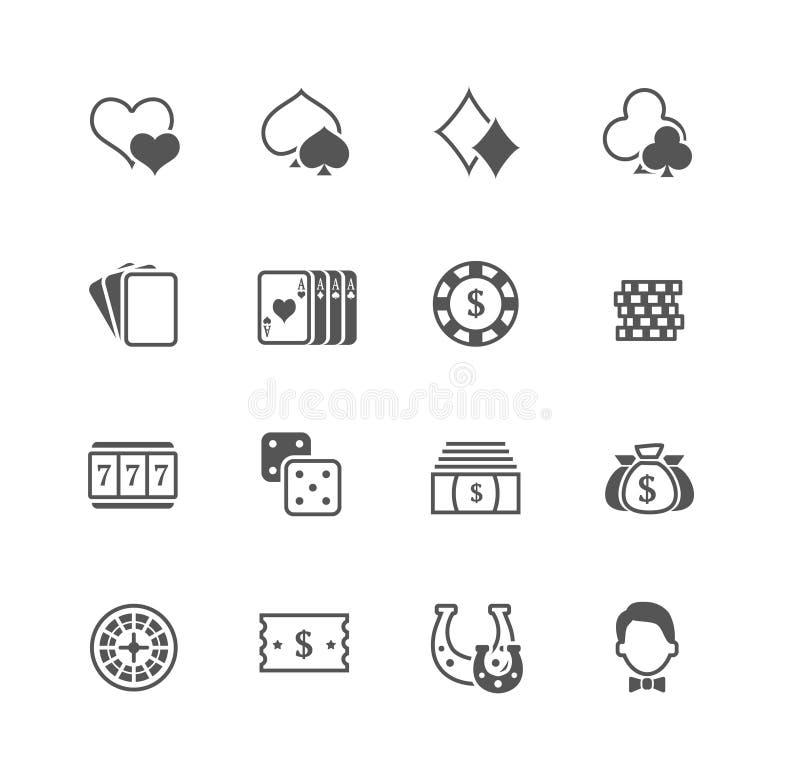 Plan uppsättning för vektorkasinosymboler stock illustrationer