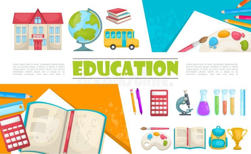 Plan utbildningsbeståndsdelsammansättning stock illustrationer
