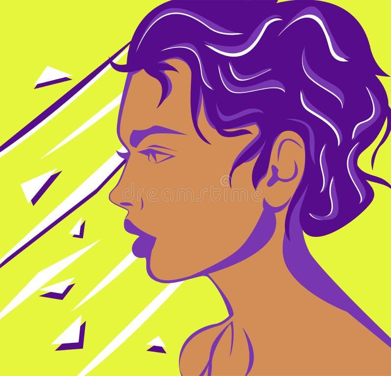 Plan utdragen framsida för kvinnasidosikt vektor illustrationer