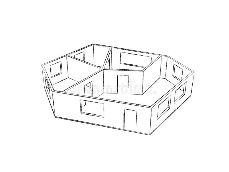 Plan vacío del sitio Aislado en el fondo blanco Ejemplo del bosquejo stock de ilustración