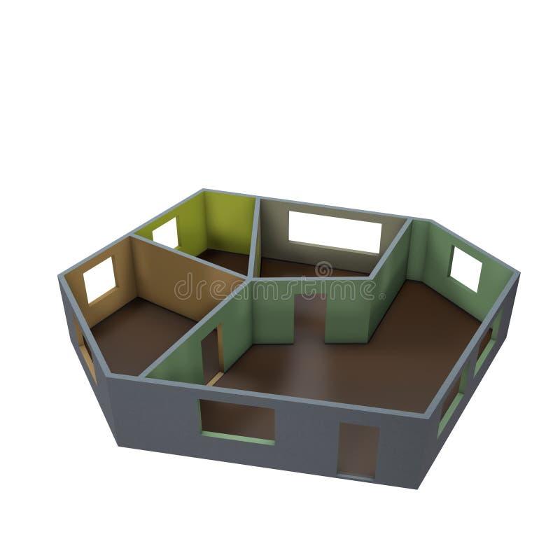 Plan vacío del sitio Aislado en el fondo blanco illust de la representación 3D stock de ilustración
