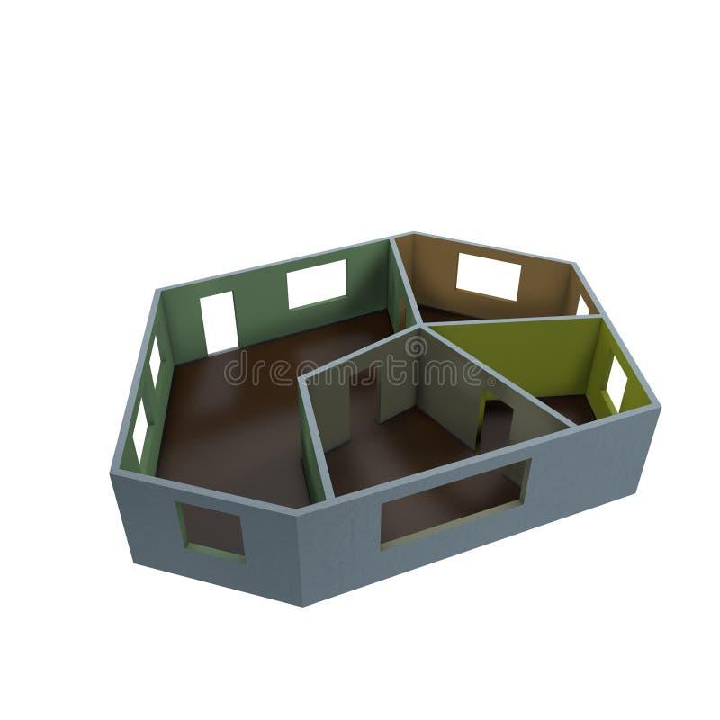 Plan vacío del sitio Aislado en el fondo blanco illust de la representación 3D ilustración del vector