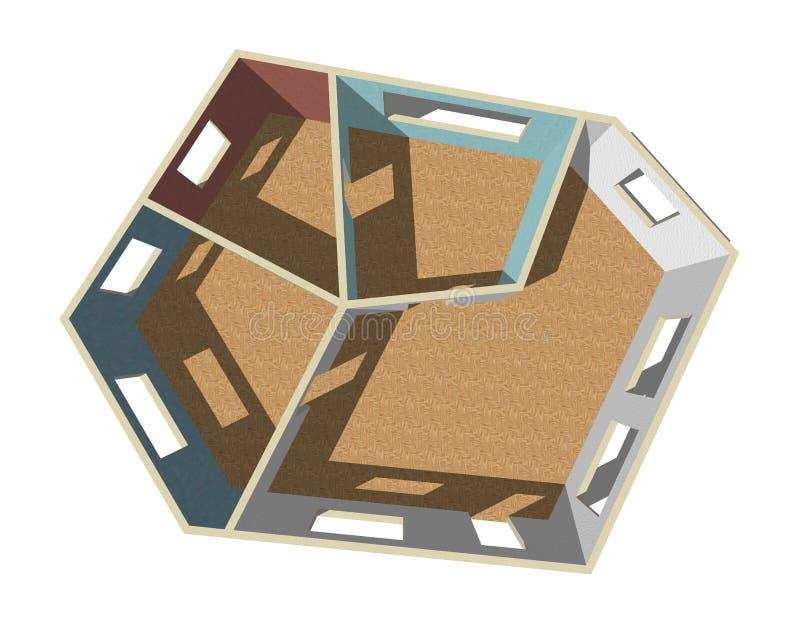 Plan vacío del sitio Aislado en el fondo blanco Visión superior stock de ilustración