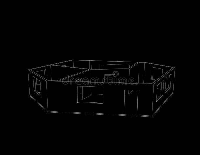Plan vacío del sitio Aislado en fondo negro Illu del esquema del vector stock de ilustración