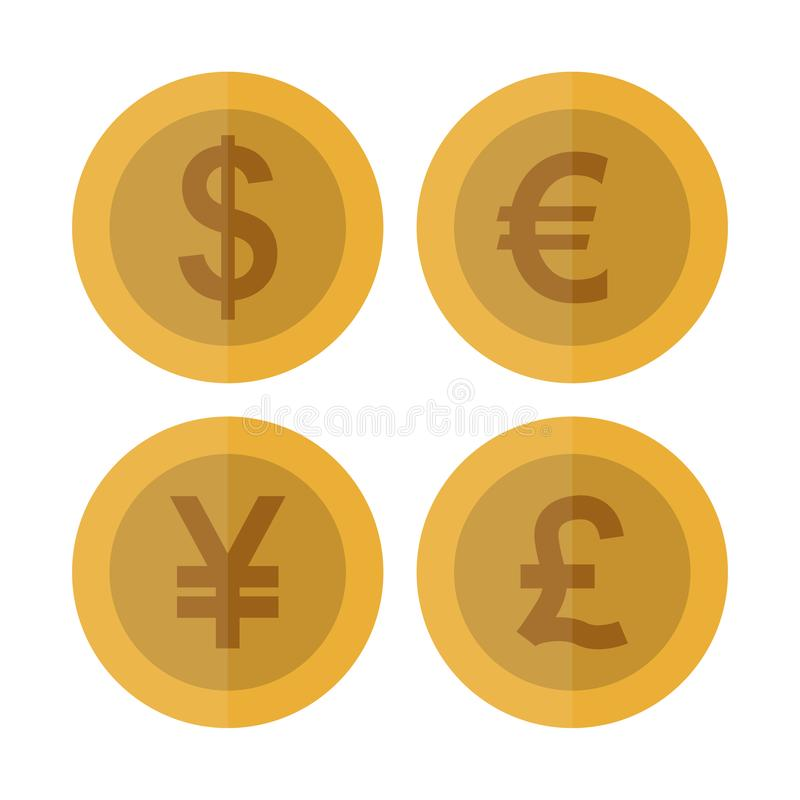 Plan valutamyntuppsättning Kasinovaluta Dollar euro, Yuan, pund som spelar myntet, isolerad vektorillustration stock illustrationer